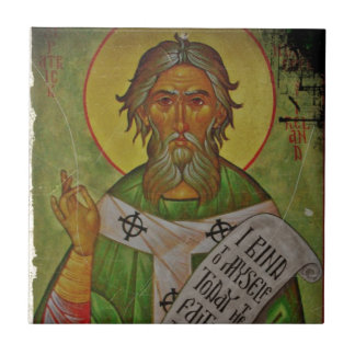 Saint Patrick Icon on Green Small Square Tile