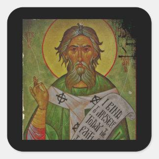 Saint Patrick Icon on Green Square Sticker