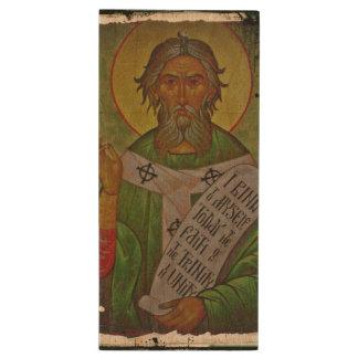 Saint Patrick Icon on Green Wood USB Flash Drive
