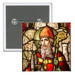 Saint Patrick Image on Stained Glass Button