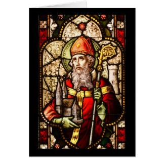 Saint Patrick Image on Stained Glass Card