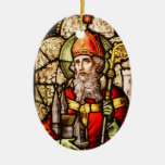 Saint Patrick Image on Stained Glass Ceramic Ornament