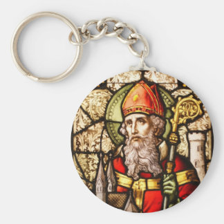 Saint Patrick Image on Stained Glass Keychain