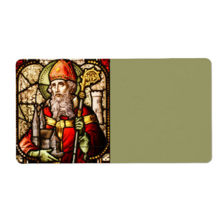 Saint Patrick Image on Stained Glass Label