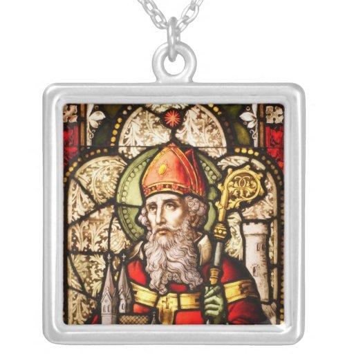 Saint Patrick Image on Stained Glass Custom Jewelry