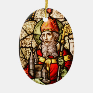 Saint Patrick Image on Stained Glass Double-Sided Oval Ceramic Christmas Ornament