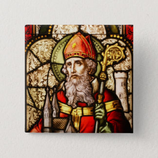 Saint Patrick Image on Stained Glass Pinback Button