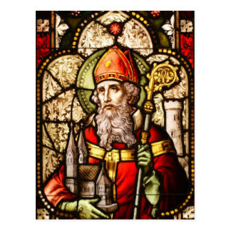 Saint Patrick Image on Stained Glass Postcard