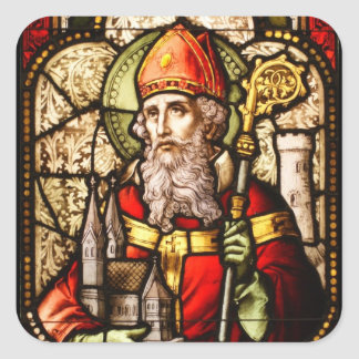 Saint Patrick Image on Stained Glass Square Stickers