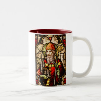 Saint Patrick Image on Stained Glass Two-Tone Coffee Mug