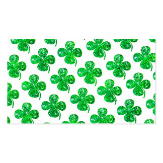Saint Patrick Irish Glitter Clover Leaf Pattern Business Card