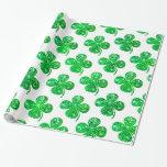 Saint Patrick Irish Glitter Clover Leaf Pattern Gift Wrap
