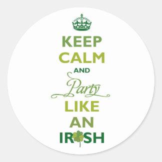 SAINT PATRICK Keep Calm And Party Like An Irish Classic Round Sticker