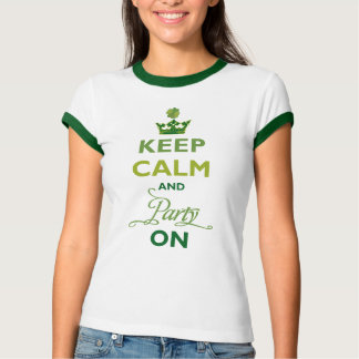 SAINT PATRICK Keep Calm Party On Irish Shamrock Tee Shirt