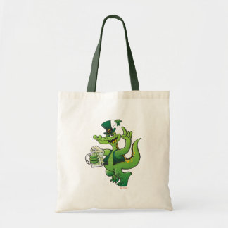 Saint Patrick s Day Crocodile Drinking Beer Tote Bags