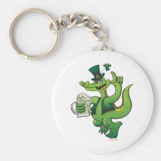Saint Patrick s Day Crocodile Drinking Beer Keychain