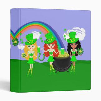Saint Patrick's Day Girl Leprechauns 3 Ring Binders