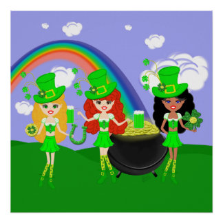 Saint Patrick's Day Girl Leprechauns Posters