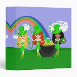 Saint Patrick's Day Girl Leprechauns Vinyl Binder
