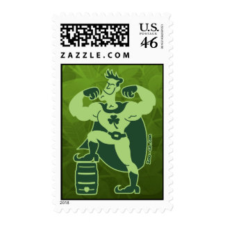 Saint Patrick s Day Superhero Postage Stamp