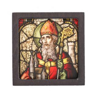 Saint Patrick Vintage Stained Glass Image Premium Trinket Boxes