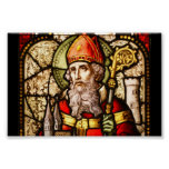 Saint Patrick Vintage Stained Glass Image Print