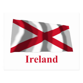 Saint Patrick Waving Flag with Name Postcard