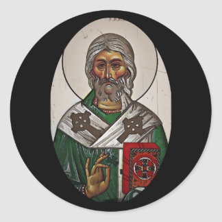 Saint Patrick with Holy Scripture Classic Round Sticker