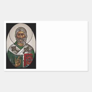 Saint Patrick with Holy Scripture Rectangular Sticker