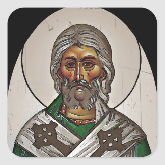 Saint Patrick with Holy Scripture Square Sticker