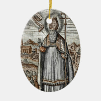 Saint Patrick with Snakes at His Feet Double-Sided Oval Ceramic Christmas Ornament