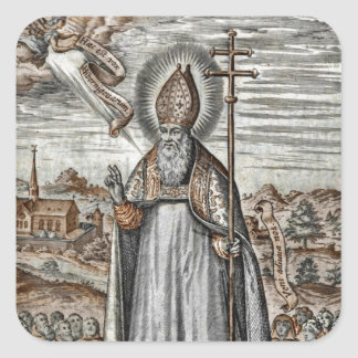 Saint Patrick with Snakes at His Feet Square Sticker