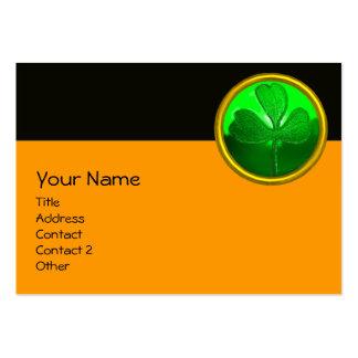 SAINT PATRICK'S CELTIC HEART,SHAMROCK,black orange Large Business Card