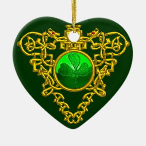 SAINT PATRICK'S CELTIC HEART- Shamrock Christmas Ornament