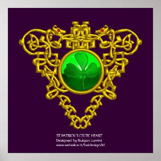 SAINT PATRICK'S CELTIC HEART,SHAMROCK,purple Posters