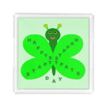 Saint Patrick's Day Butterfly Acrylic Serving Tray Square Serving Trays