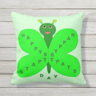 Saint Patricks Day Butterfly Outdoor Pillow