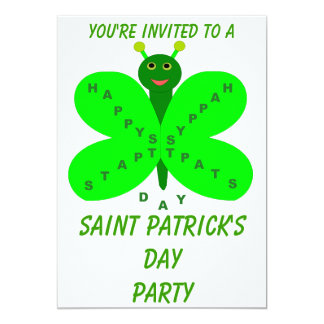 Saint Patrick's Day Butterfly Party Customizable Card