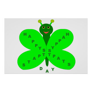 Saint Patricks Day Butterfly Poster