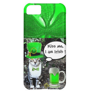 SAINT PATRICK'S DAY CAT WITH GREEN IRISH BEER CASE FOR iPhone 5C