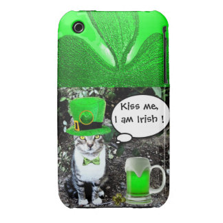 SAINT PATRICK'S DAY CAT WITH GREEN IRISH BEER Case-Mate iPhone 3 CASE