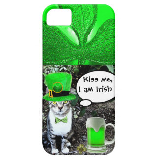 SAINT PATRICK'S DAY CAT WITH GREEN IRISH BEER iPhone SE/5/5s CASE