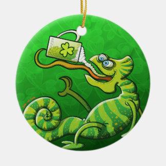 Saint Patrick's Day Chameleon Ceramic Ornament
