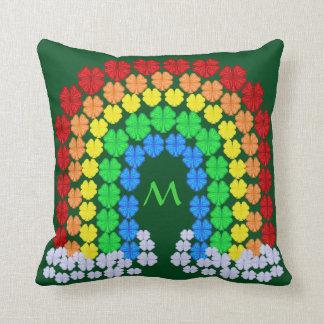 Saint Patrick's Day Clover Rainbow Monogram Throw Pillow