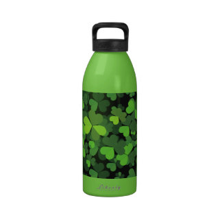 Saint Patrick's Day, Clovers - Green Black Drinking Bottle