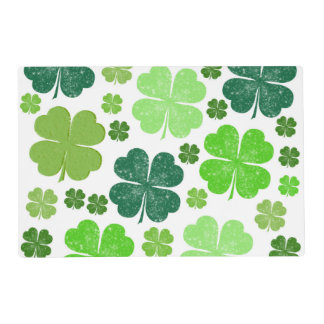 Saint Patrick's Day, Clovers - Green White Laminated Placemat