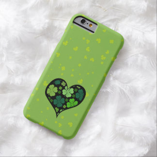Saint Patrick's Day, Clovers, Heart - Green Black Barely There iPhone 6 Case