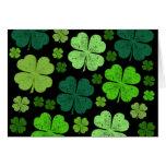 Saint Patrick's Day, Clovers, Swirls - Black Green Greeting Card