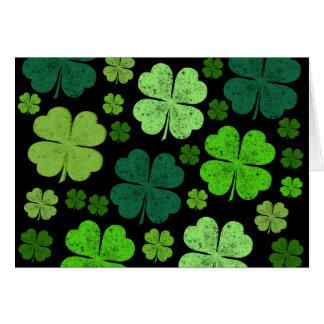 Saint Patrick's Day, Clovers, Swirls - Black Green Card