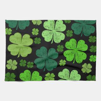 Saint Patrick's Day, Clovers, Swirls - Black Green Hand Towels